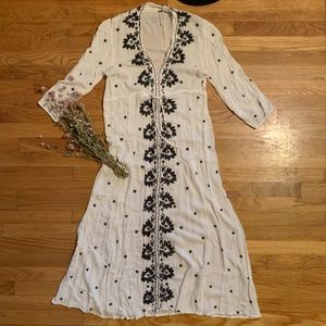 Free People Embroidered Fable Midi Dress Size M